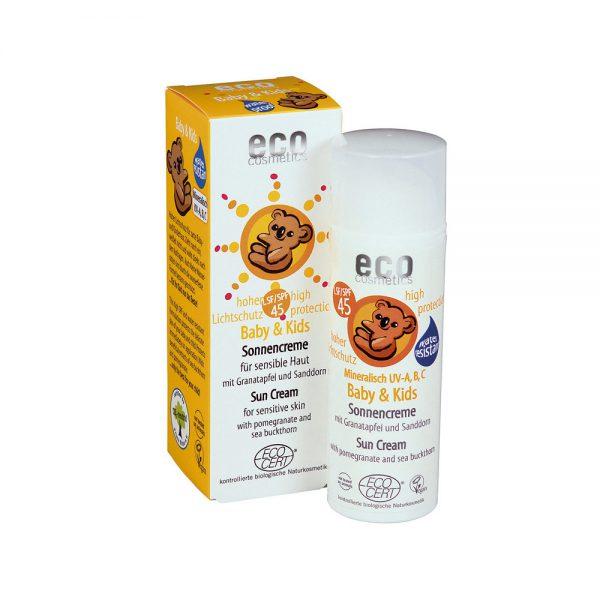 ECO COSMETICS органска крема за сончање за бебиња и деца SPF 45+