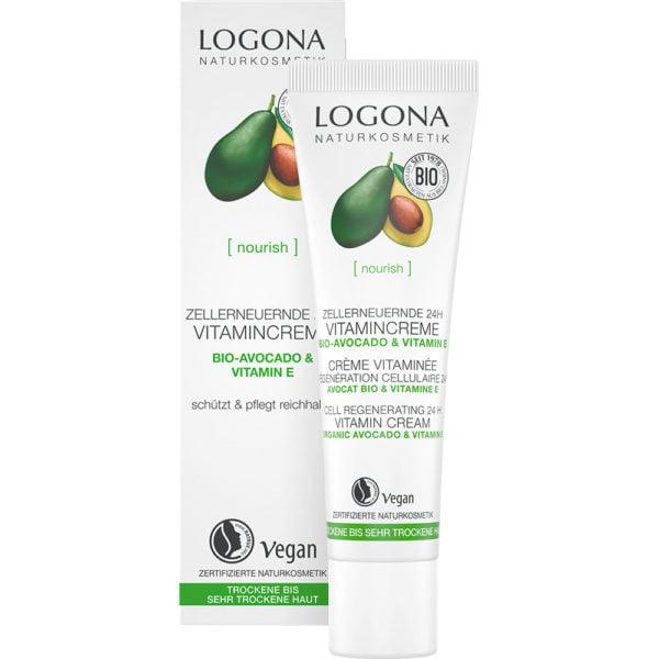 Витаминска крема за регенерација 24 часа, со органско авокадо и витамин Е